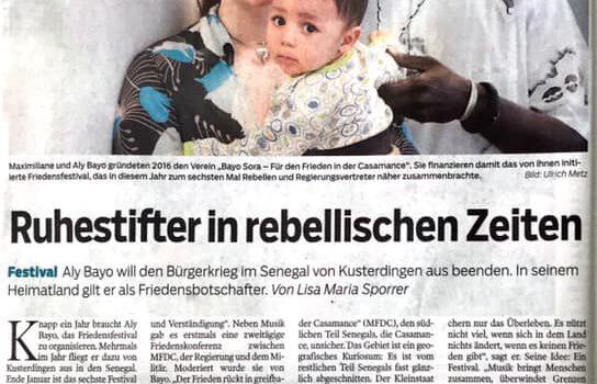"""Artikel im schwäbischen Tagblatt: """"Ruhestifter in rebellischen Zeiten"""""""